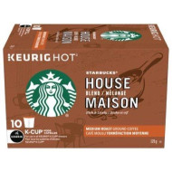 Starbucks House Blend Medium Roast Ground Coffee K-Cups - 10 Ct