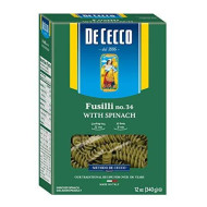 De Cecco Spinach Pasta, Fusilli No.34,  12 Ounce (Pack of 12)