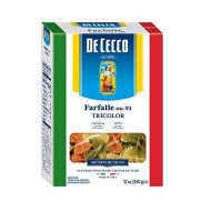 De Cecco Tri Color Pasta, Farfalle No.93, 12 Ounce (Pack of 12)