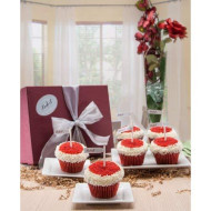 Red Velvet Butter Cream Cupcakes Gift Boxed Holiday Care Package For Men Women, Friend, College Students , Couples, Husband, Wife, Boyfriend, Girlfriend, Love By Dulcet Gift Baskets