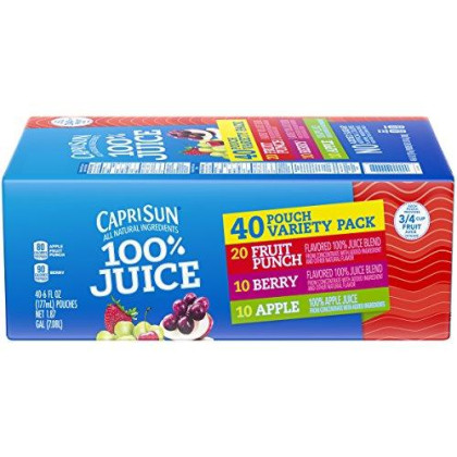 Capri Sun All natural 100% Juice Variety Pack (10-Fruit Punch, 10-Apple, 10-Berry and 10-Grape), 15-Pound
