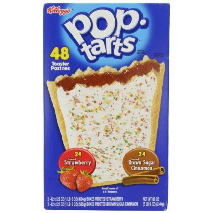 Kellogg'S Pop-Tarts Frosted Toaster Pastries, 24-Strawberries & 24-Brown Sugar Cinnamon-, 86 Ounce