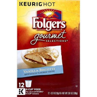 Folgers Vanilla Biscotti Ground Coffee K-cup Pods for Keurig brevers, 12 ct