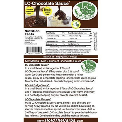 Low Carb Chocolate Sauce Mix - Lc Foods - All Natural - Gluten Free - No Sugar - Diabetic Friendly - 8 Oz