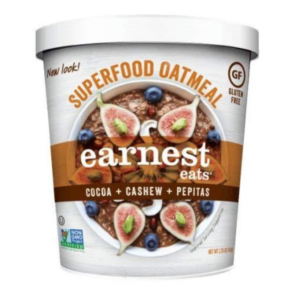 Earnest Eats Gluten-Free Oatmeal with Superfood Grains, Quinoa, Oats and Amaranth - Mayan Blend - (Case of 12 - Single Serve Cups)