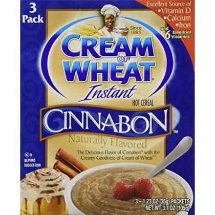 Cream of Wheat Instant Hot Cereal Cinnabon 3 - 1.23 oz Packs Per Box (3 Boxes)