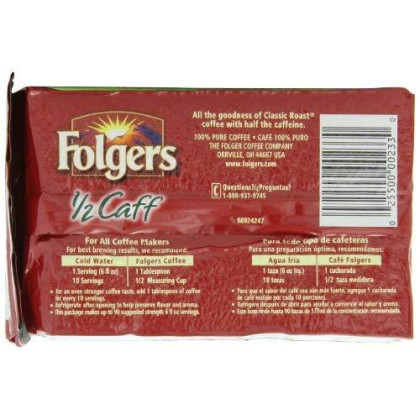 Folgers Half-Caff Ground Coffee, Medium Roast, 10.8 Ounce Brick (Pack of 12)