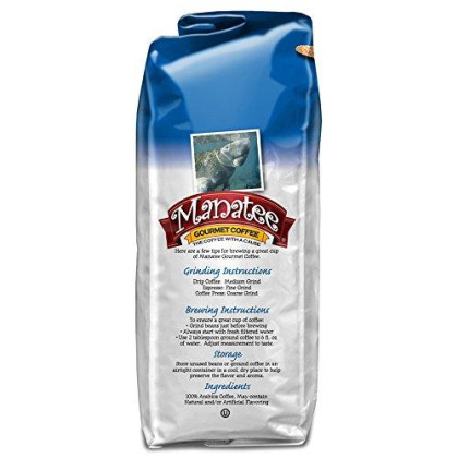 Manatee Caribbean Delight, Whole Bean Coffee, 2 Pound Bag, Rich, Medium Roast Flavored Coffee, with Hints of Coconut, Hazelnut, and Caramel, Low acd Coffee