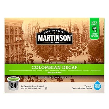 Martinson Single Serve Coffee cpsules, Colombian Decaf, 24 Count