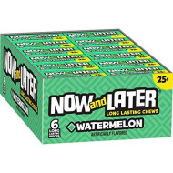 Now & Later Original Taffy Chews Candy, Watermelon, 0.93 Ounce Bar, Pack Of 24