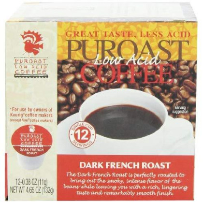 Puroast Low acd Coffee French Roast Single Serve Coffee, 2.0 Keurig Compatible, 12 Count