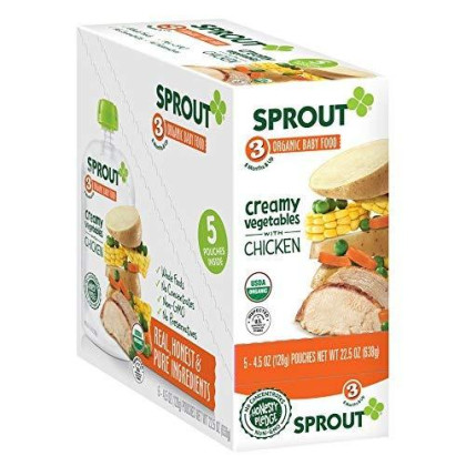 Sprout Organic Baby Food Stage 3 Pouches, Creamy Vegetables With Chicken, 4.5 Ounce (Pack Of 5)