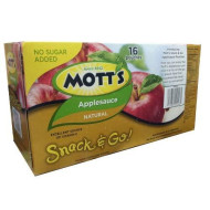 Mott's Snack and Go No Sugar Added Natural Applesauce 16 Pouches 3.2lb