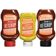 Whataburger Condiments (Pack Of 3) (Trio Sampler Pack 1-Mustard 16Oz, 1-Original And 1-Spicy Ketchup 20Oz Ea.)