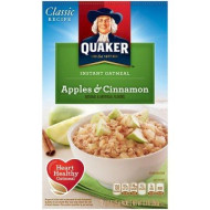 Quaker Instant Oatmeal - Apple & Cinnamon, Heart Healthy Oatmeal, 10-count box, (Pack of 2)