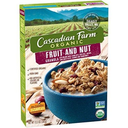Cascadian Farm Organic Granola, Fruit and Nut Cereal, 13.5 oz (Pack of 6)