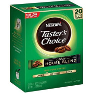 Nescafe Taster'S Choice Decaf House Blend Instant Coffee, 20 Count Single Serve Sticks