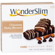 Wonderslim High Protein Meal Replacement Bar - High Fiber, Kosher, Chocolate Nutty Almond (7 Count)