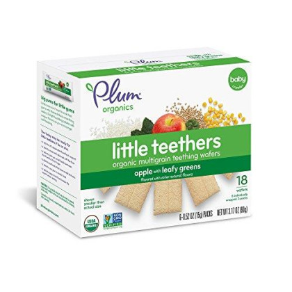 Plum Organics Little Teethers, Organic Baby Teething Wafers, Apple With Leafy Greens, 3 Oz, 6 Count (Pack Of 6)