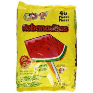 Vero Rebanaditas Paletas Sabor Sandia Hard Candy Chili Covered Lollipops 40 Pcs