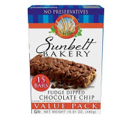 Sunbelt Bakery Fudge Dipped Chocolate Chip Chewy Granola Bars, 120 Count