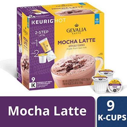Gevalia Mocha Latte, K-Cup Pods And Froth Packets, 9 Count