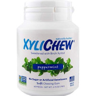 Xylichew 100% Xylitol Sweetened Gum, Peppermint Flavor, 60 Count Bottle