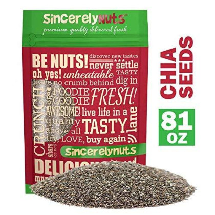 Sincerely Nuts Black Chia Seeds (5Lb Bag) - Natural Superfood | Raw, Gluten Free, Vegan & Kosher | Healthy Snack Food & Smoothie Thickener | Amazing Source Of Protein, Omega 3, Fiber, Vitamins