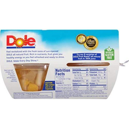 Dole Fruit Bowls, Mixed Fruit in 100% Juice, 4 Cups (Pack of 6)