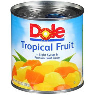 Dole Mixed Tropical Fruit in Light Syrup and Passion Fruit Juice, 15.25 Ounce Can (Pack of 12), All Natural Pineapple Red Papaya & Yellow Papaya in Light Syrup & Passion Fruit Juice, Pop & Peel Lid