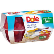 Dole Fruit Bowls, Mixed Fruit in Cherry Gel, 4.3 Ounce, 4 Cups (Pack of 6)