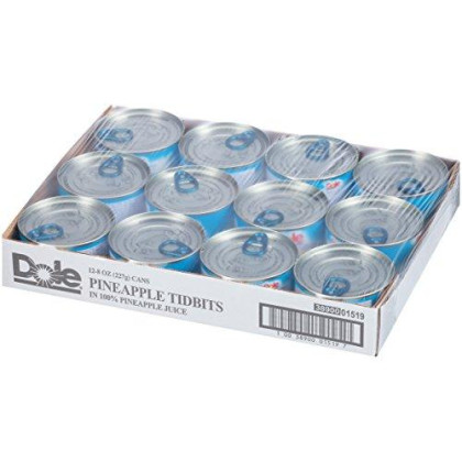 Dole Pineapple Tidbits in 100% Juice, 8 Ounce Cans (Pack of 12)