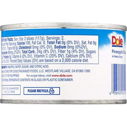 Dole Pineapple Slices in Heavy Syrup, 8.25 Ounce Cans (Pack of 12)