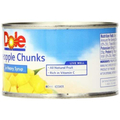 Dole Pineapple Chunks in Heavy Syrup, 8.25 Ounce Cans (Pack of 12)