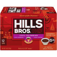 Hills Bros Single Serve Coffee Pods, Colombian Medium Roast - 100% Premium Arabica Coffee - Compatible With Keurig K-Cup brevers (12 Count)