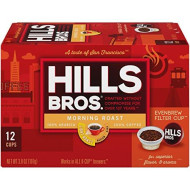 Hills Bros Single Serve Coffee Pods, Morning Light Roast - 100% Premium Arabica Coffee - Compatible With Keurig K-Cup brevers (12 Count)
