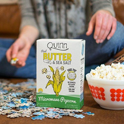 Quinn Snacks Microwave Popcorn - Made With Organic Non-Gmo Corn - Great Snack Food For Movie Night - Real Butter & Sea Salt, 6.9 Ounce