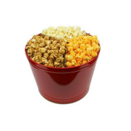 Signature Popcorn - 2-Gallon Solid Red Holiday Reusable Metal Tin - Butter, Caramel &Amp; Cheddar Cheese