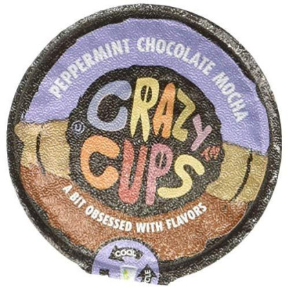 Crazy Cups Coffee, Peppermint, Chocolate Mocha, Single Serve Cups For The K Cup Keurig, 22Count