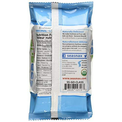 Seasnax Organic Roasted Seaweed Snack Grab And Go, Original, 0.18 Ounce (Pack Of 24)