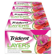 Trident Layers Sugar Free Gum (Watermelon & Tropical Fruit, 14-Piece, 12-Pack)