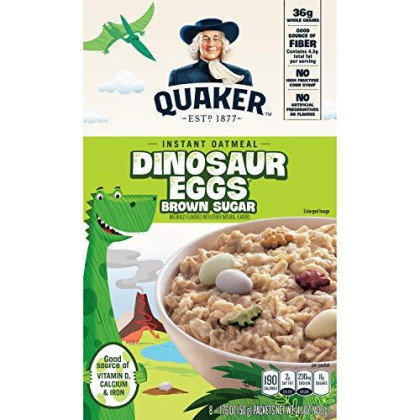 Quaker Instant Oatmeal, Dinosaur Eggs And Brown Sugar, Breakfast Cereal, 8 Packets