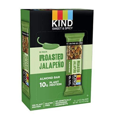 Kind Sweet And Spicy Bars, Roasted Jalapeno, Gluten Free, 10G Plant Protein, 1.6Oz, 12 Count