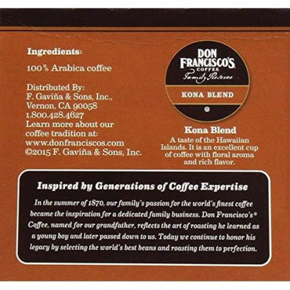 Don Francisco Family Reserve Single Serve Coffee, Kona Blend, 12 Count, 4.44Oz Box (Pack Of 3)
