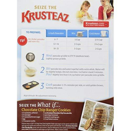 Krusteaz Light & Fluffy Complete Pancake Mix, Chocolate Chip - No Artificial Flavors, Colors Or Preservatives - 24 Oz (Pack Of 2)
