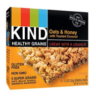 Kind Healthy Grains Bars, Oats &Amp; Honey With Toasted Coconut, Non Gmo, Gluten Free, 1.2 Oz, 5 Count