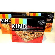 Kind Healthy Grains Granola Bars, Variety Pack: Dark Chocolate Chunk, Oats &Amp; Honey, Peanut Butter Dark Chocolate. 5 Bars In Each Box. (3 Pack)