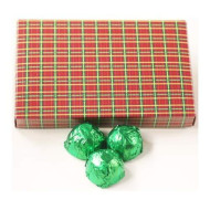 Scott'S Cakes Milk Chocolate Covered Mini Chocolate Chip Marzipan Candies With Yellow Green Foils In A 1 Pound Christmas Plaid Box