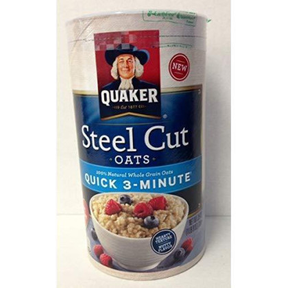Quaker Quick 3-Minute Steel Cut Oats 25Oz Canister (Pack Of 4)