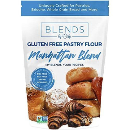 Blends By Orly Premium Gluten Free Pastry Flour | Gluten Free Donut Flour - Baking Flour For Gluten Free Challah Bread, Gf Brioche Bread, Gf Cinnamon Roll & Gf Bagels From Manhattan Blend 20 Oz